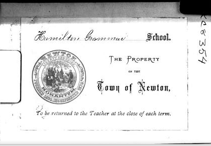 "Bookplate of Hamilton Grammar School (Directions—""To be returned to the Teacher at the close of each term""—unfollowed). From the front matter of A Hand-Book to Accompany the Eclectic System of Penmanship by Langdon Shook Thompson (1870). Original from Harvard University. Digitized February 26, 2008."