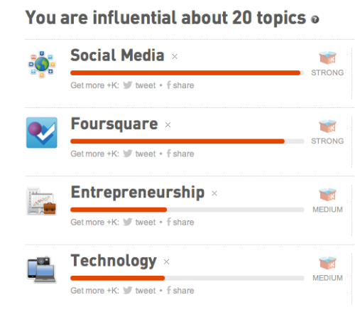 Must say, the @Klout +K's are pretty accurate. What does yours say?  My Full Topics List