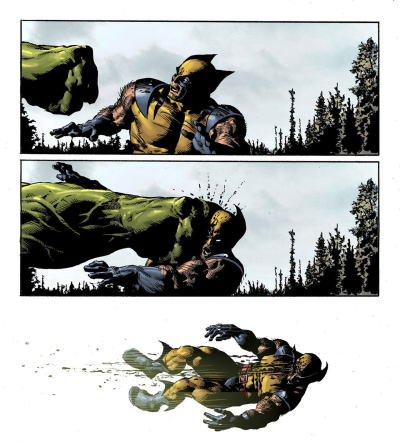 mikedeodatojr:  Slow motion Hulk's punch. Colors by Rain.