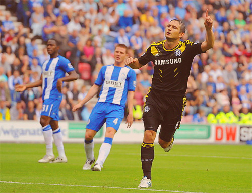 Picture: Frank Lampard after scoring v Wigan