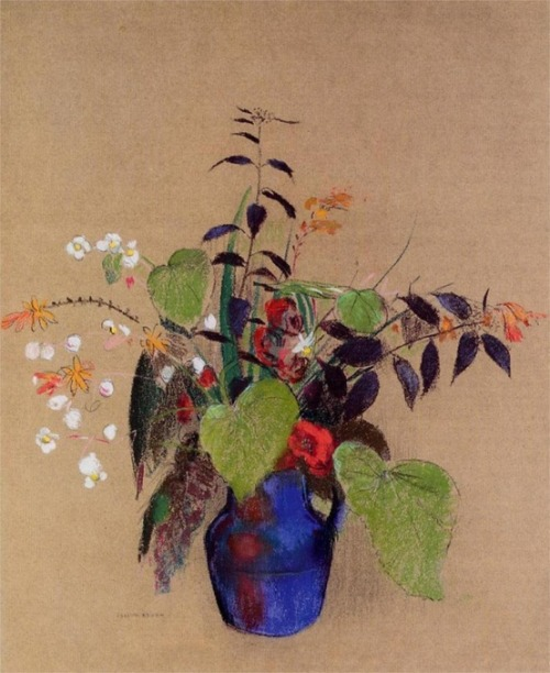 cacaotree: 1910 Odilon Redon (French Symbolist, 1840-1916) ~ Flowers in a Blue Jug