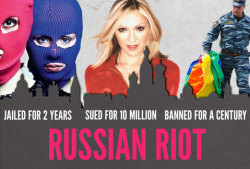 "Published August 17th: In Moscow, Pride marches have just been banned for 100 years. Anti-gay activists are using the Russian government's gay gag laws to sue Madonna for $10,000,000 because she spoke up for the LGBT community. And punk band Pussy Riot has been sentenced to 2 years in prison for their musical protest – deemed ""homosexual propaganda."" Add your voice to the international outcry against Putin before he attends the September United Nations Leaders meeting in New York. Click photo to sign!"