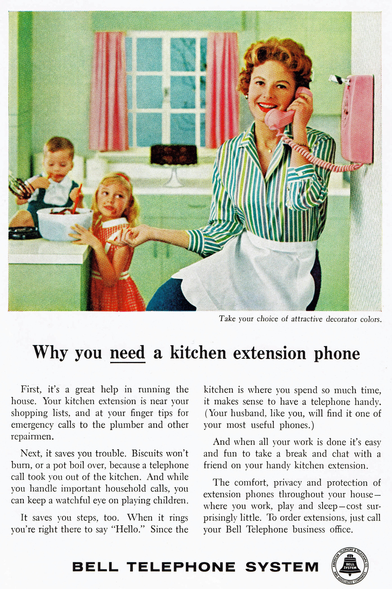 """I keep ignoring them, but they won't leave!"" Bell Telephone System, 1959"