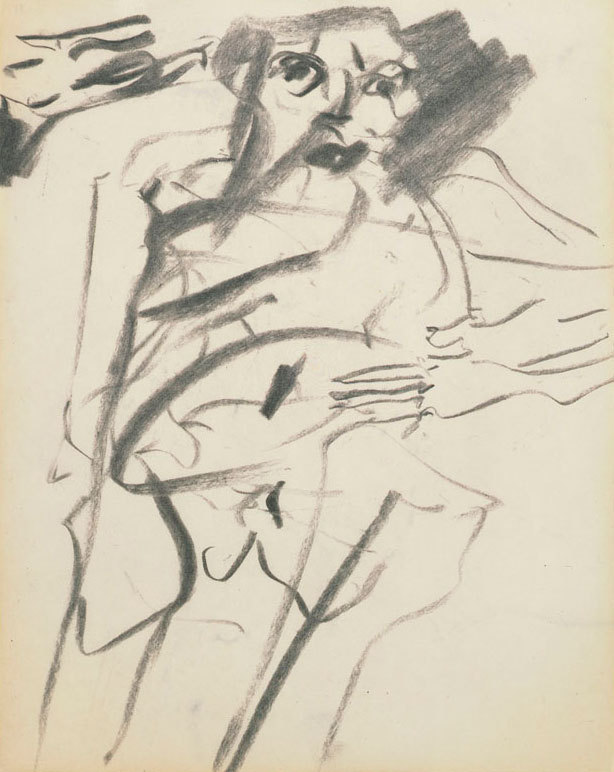 "Flying Blind: de Kooning's ""Closed-Eye"" Drawings There are 24 charcoal drawings now on display at the Museum of Modern Art that Willem de Kooning did with his eyes closed. This was not an uncommon thing for de Kooning, who often liked to close his eyes, or avert his eyes, or use them to watch TV while he drew. This may sound like a gimmick, or some kind of dada or surrealist gambit, or an act of desperation from an artist running on fumes. Caption: Willem de Kooning, ""Untitled"" (1966). Charcoal on paper, 10 x 8 inches. Museum of Modern Art, New York. Gift of Jan Christiaan Braun in honor of Rudi Fuchs."