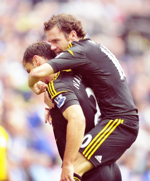 Mata celebrates with Ivanovic.