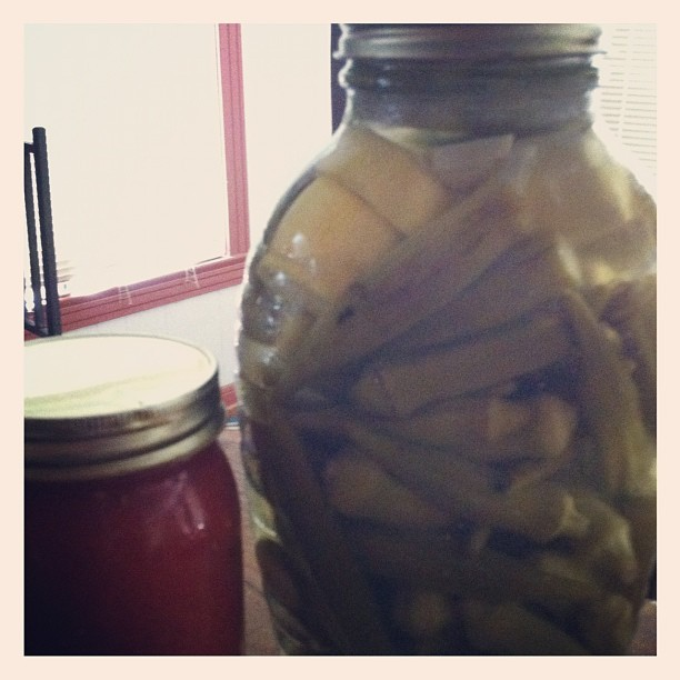 Pickled okra and squash with garlic..peach and jalapeño salsa. #local #farmersmarket #homemade (Taken with Instagram)