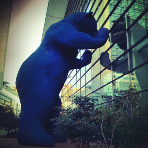 The Big Blue Bear outside the Denver Convention Center. #art #streetart #statue #sculpture #denver #colorado #denverconventioncenter #bear #blue #bigbluebear  (Taken with Instagram)