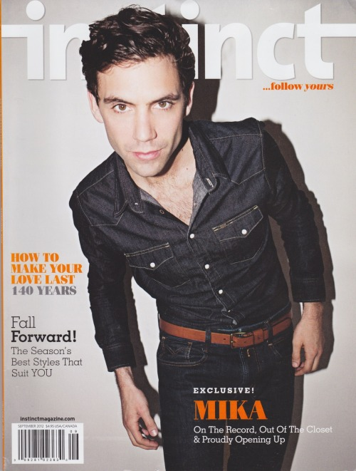 Mika on the cover of Instinct magazine (September 2012 issue).
