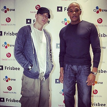 Eminem and Dr.Dre in-store at frisbee in Korea.
