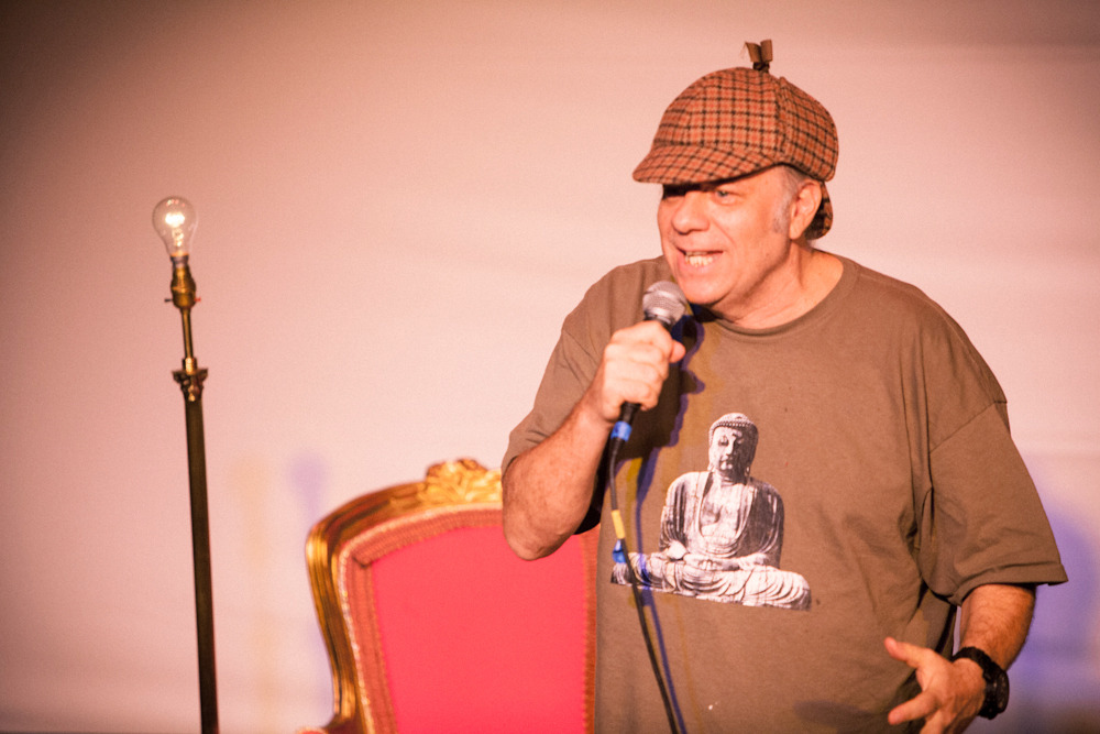 Eddie Pepitone // The Super Serious Show, Fringe 2012 Still trying to take Eddie & his new Sherlock hat seriously. *Photo by Joel Mandelkorn