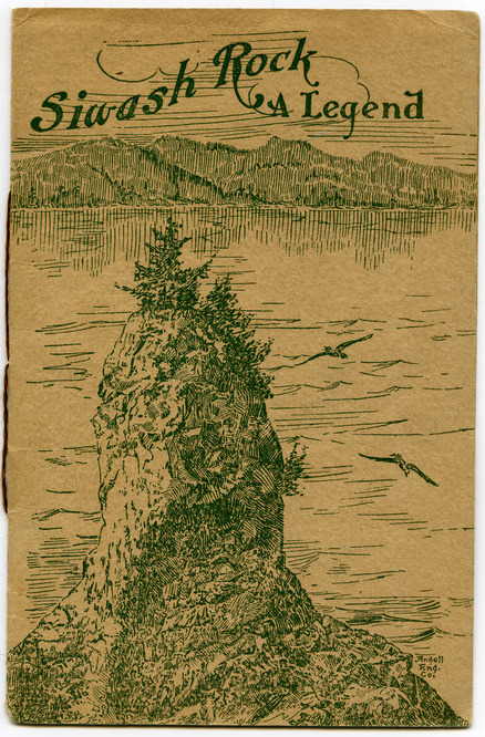 "Brochure circa 1910 for Siwash Rock, A Legend by Arthur James Smith, cover art by the Angell Engraving Co., previously at 518 Hastings Street West. This piece is one of 3,500 pieces related to Stanley Park collected by Doreen Margaret ""Peggy"" Imredy who began collecting the material in 1972 while her husband Elek Imredy was working on Girl in a Wetsuit. From the MoV online collection:    Publisher Information: White & Bindon Ltd., PrintersPhysical Description:String bound book, 9 pages. Book is titled ""Siwash Rock, A Legend"" and written by Arthur James Smith, c.1910. Published by White and Bindon Ltd., Printers, this book tells the story of a man from the Metlatas tribe and a women from the Capilano tribe who lose their lives on Siwash Rock."