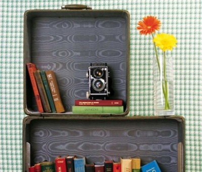 Suitcase bookshelf for us vintage suitcase hoarders.