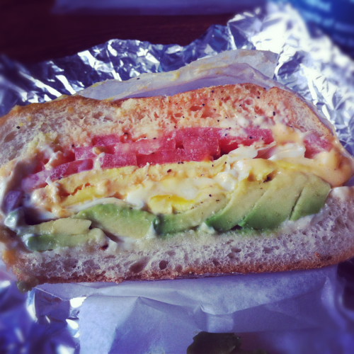 What's for breakfast? Egg, cheese, avocado, tomato, mayo & hot sauce on a toasted roll.  Happy Sunday!