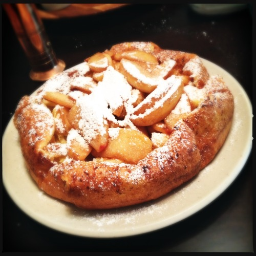 Weekend family breakfast tradition continues with a homemade Apple Dutch Baby Pancake. Loftus Lens, DC Film, No Flash, Taken with Hipstamatic