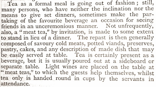 treselegant:  Remarks on 'Tea' as a formal meal in 1869, from Cassell's Household Guide.