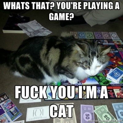 My friends cat decided to ruin our Monopoly game