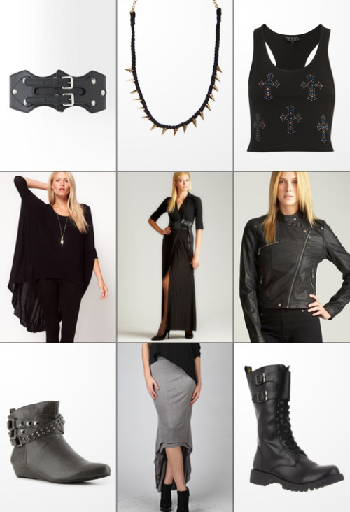 The Haute List :: $50 & Under Pyramid Studded Belt :: Woven Spike Necklace :: Jewel Cross Crop Top Dip Back Top With 3/4 Sleeves :: Maxi Dress With Obi Belt :: Moto Jacket Gomax Studded Bootie :: Hi-Lo Skirt :: Volatile Tank Boot