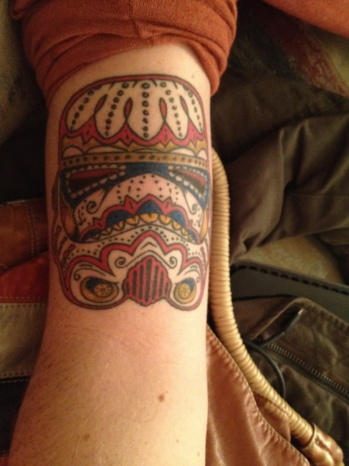 fuckyeahtattoos:  Star wars day of the dead storm trooper. Done by Greg Votaw at Tattoo Corner in Galveston, Texas.