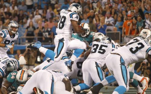 downisupandupisdown:  Carolina Panthers' Jonathan Stewart (28) leaps over teammates and the goal line for a touchdown against the Miami Dolphins during the first quarter of a preseason NFL football game in Charlotte, N.C., Friday, Aug. 17, 2012.  (AP Photo/Bob Leverone)  My favorite Stew is of the J variety. The Carolina backfield is a headache for fantasy owners but I don't mind taking him or DeAngelo on the low. They're both super talented and are only 1 injury away from being a top 10 running back.