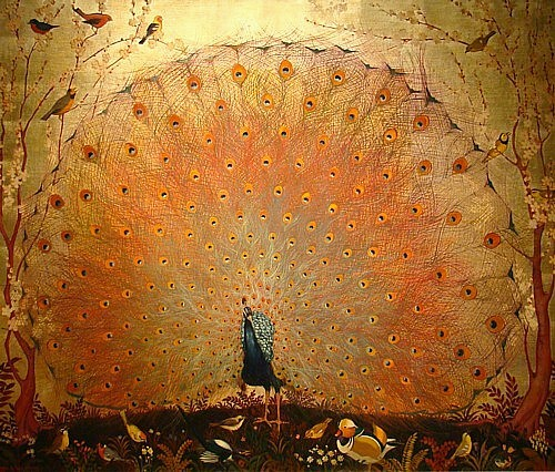 painterlyone:  Jessie Arms Botke The Peacock (1931)Oil and gold leaf on canvas (34 x 40 inches)