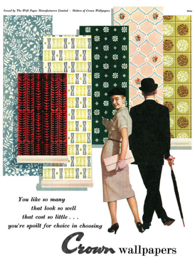 Crown Wallpapers advertisement. by totallymystified on Flickr. From Picture Post magazine, 19th November, 1956.