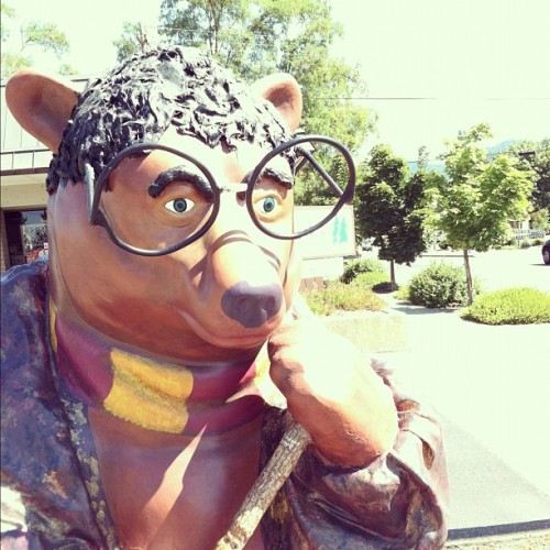 laurenfairweather:  Grants Pass, OR has a bunch of decorated bear statues and this one's dressed like Harry Potter! (Taken with Instagram at Oregon Books And Gsmes)