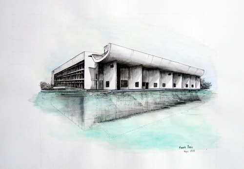 fabriciomora:  chandigarh le corbusier drawing by  MAURO PESCI