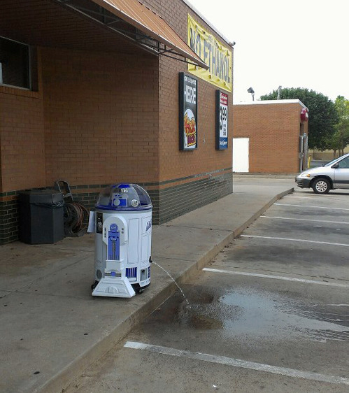 thefrogman:  tastefullyoffensive:  R2D2, you are drunk.[via]   *sad beep*