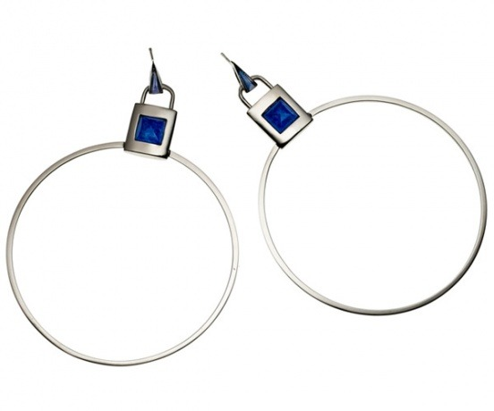 Silver-and-lapis inlaid padlock hoops by Eddie Borgo