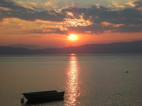 Sunset at Lake Ohrid.Taken by me, less than two hours ago :)
