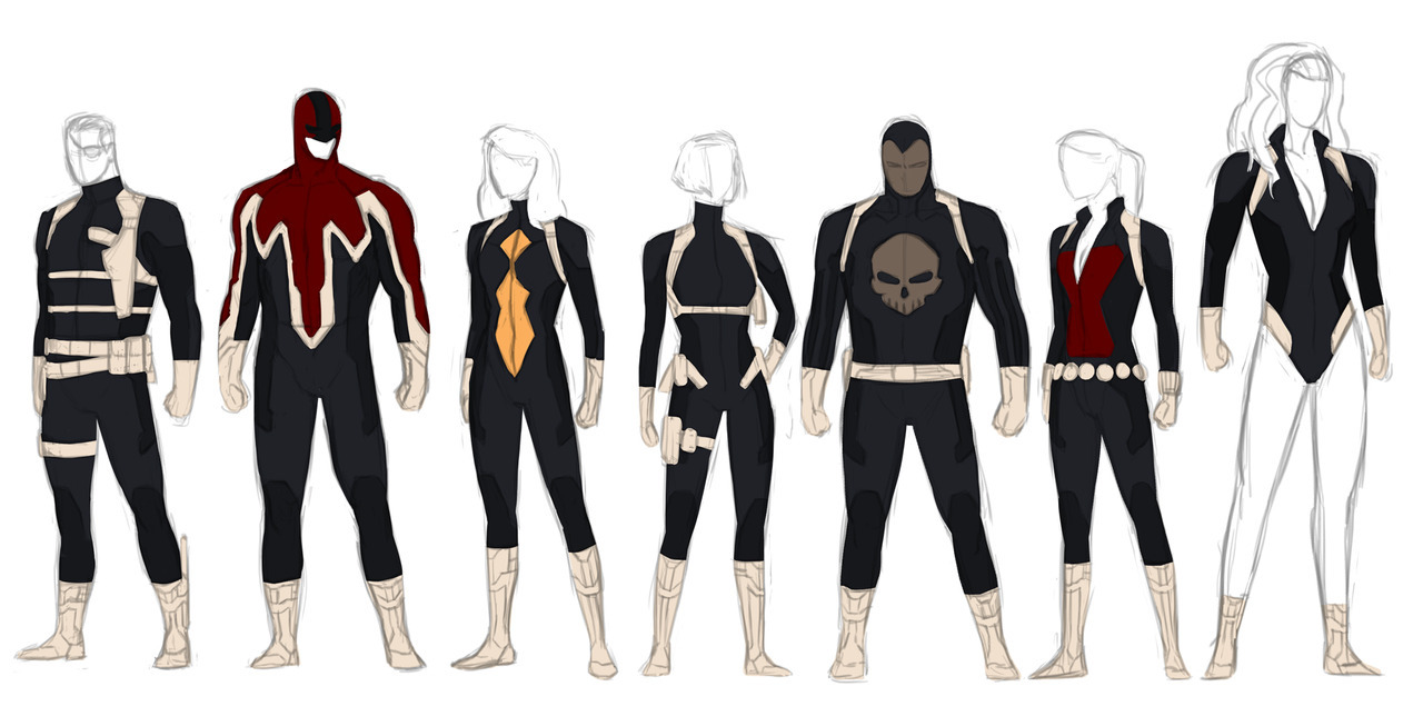 glassgears:  kristaferanka:  So I never got around to doing anything with this, but this was my attempt at making a Secret Avengers type gang. Black ops Avengers. Lead by fury (the real fury, not sam jack, who is a terrible nick fury), it had cap britain and red she hulk for muscle, Widow and spiderwoman for stealth, Domino for range, and a de-aged Destroyer, the one from ww2 for bluntness.  This would have rocked! Also, this needs to be Captain Britain's costume. NOW!