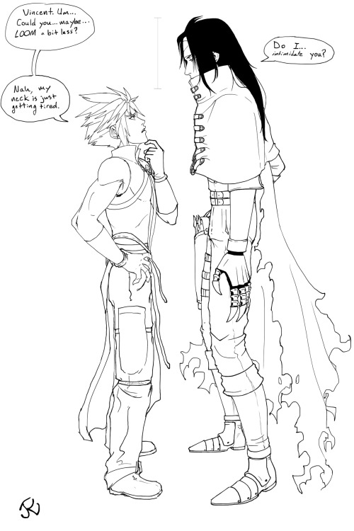 jeredu:  Yes, these heights are accurate.  Yes, Vincent really is THAT tall compared to Cloud.   Jeez, Cloud.  If you want him at eye-level so badly, just yank him down by one of the belts on his collar.  Or just get him to sit next to you, since the extra height is all in Vincent's legs, not in his torso.   This is the line art! I decided to turn this sketch into a proper drawing for full impact.