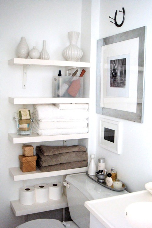 shelving in a dead space (via pinterest)