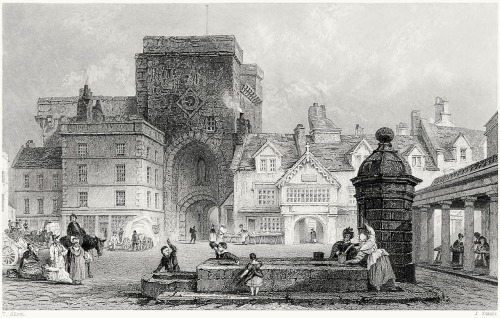 oldbookillustrations:  Hexham market place, Northumberland. Thomas Allom, from Westmorland, Cumberland, Durham, and Northumberland, illustrated, by Thomas Rose, London, 1832. (Source: archive.org)