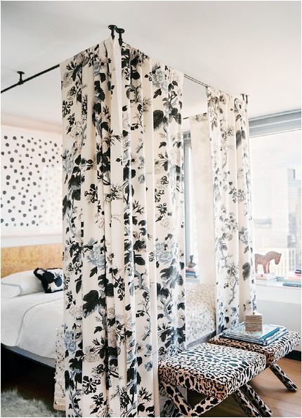 DIY Curtain Rod Canopy Bed from Lonny Magazine here. I've seen these on design sites but they always cost a fortune and never pinned them so thank you Centsational Girl for posting this. You can also get great deals on rods at IKEA and I found my super long curtain rods on ebay with reasonable shipping - just type the length that you need in the search box. *First seen at Centsational Girl here and check out her other links in her 'best of the blogosphere' post.