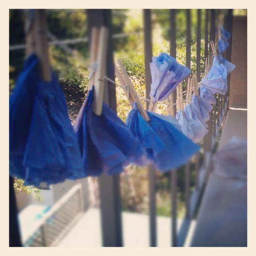 Summer project: dip-dyed coffee filter pom-poms! (Taken with Instagram)