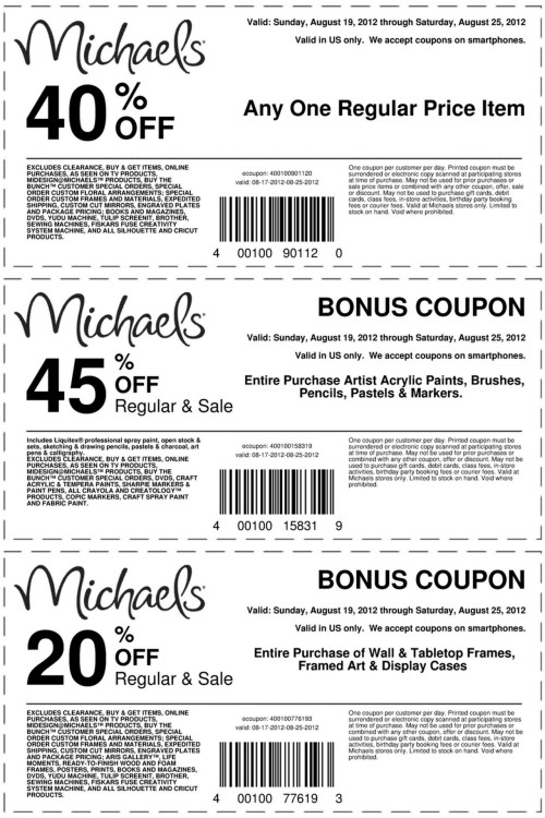 "truebluemeandyou:  Michaels Coupons and Highlights for August 19th - August 25th, 2012 (no affiliate link). Highlights:  STRATHMORE® ARTIST PADS buy 1 get 1 for 1¢ ARTIST'S LOFT™ ARTIST GALLERY WRAPPED CANVAS buy 1 get 1 for 1¢ TABLETOP FRAMES 40% (combine with 20% off coupon) POSTER FRAMES buy one get one for 1¢ 12""x12"" OPEN STOCK PAPER (Reg. 59¢) 4 for $1 Lots of frames 40% Polymer Clay (2-oz./58-g. Sculpey® III, Fimo®, Premo! Sculpey® or Craft Smart®. Reg. $1.49 - $2.79) 4 for $5"