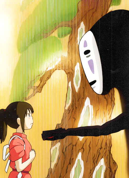 dariahk:  cinyma:  Spirited Away (2001)  The fact that this movie is about the underground sex industry in relation to children is so eerie. No face is constantly trying to buy off Chihiro/Zens love.