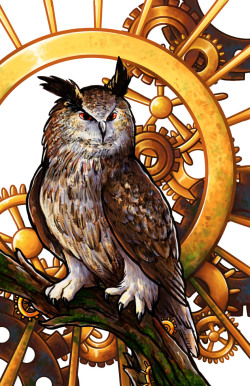 """Clockwork Owl."" Watercolor & Digital. 2012. A re-work of the Clockwork Owl piece I originally did in 2010, which suffered from terrible composition on the gear section. I took it into Photoshop, erased the background completely, painted over the owl for more depth, then added the current background. I'm much more pleased with this version."
