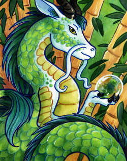 """Green Dragon of the East."" Watercolor. 2012. One of four in a series featuring the Chinese celestial guardians of the compass points."