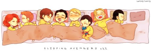 fleetingpariah:  Sleeping Baby Avengers. I just… I can't even… And baby Clint is holding baby Natasha's hair.And baby Tony has a taped-on mustache.And baby Coulson moved from his spot to sleep next to baby Steve and he has a Cap doll!And baby Thor just cracks me up for some reason