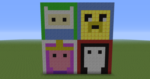 minecraft-sprites:  Adventure Time characters! Top left: Finn the Human Top right: Jake the Dog Bottom left: Princess Bubblegum Bottom right: Marceline the Vampire Queen