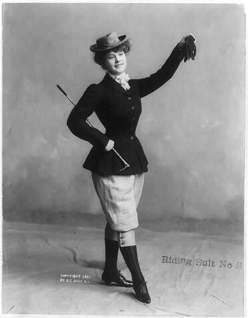 A woman in a daring riding habit, ca 1901 US