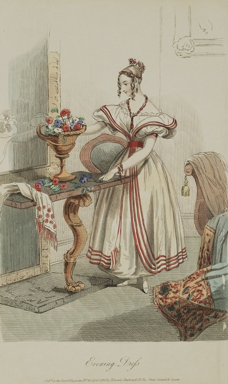 Evening dress, 1836 England, Court Magazine The source has a version with enhanced color.