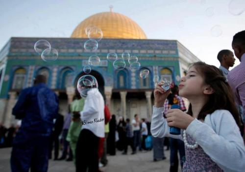 The first day of Eid Al Fitr ,Dome of the rock , Jerusalem.