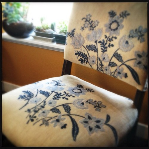 Embroidered antique chair. @anthropologiecom asked for our favorite flea market finds. I spent five minutes in my living room and rediscovered many great treasures. #showandtell #fleamarket #vintage #antique #consignment #designporn #design (Taken with Instagram at condo 101)