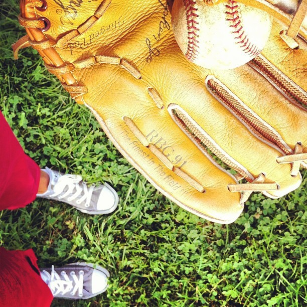 Having a field day! #baseball #catch #boston #baseballglove  (Taken with Instagram)