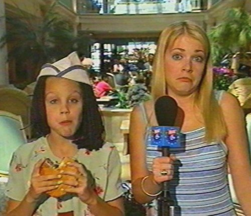 Melissa Joan Hart and Amanda Bynes at the Good Burger Premiere in 1997
