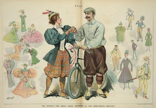 "Cartoon from the Aug 7, 1895 issue of Puck: ""The bicycle - The great dress reformer of the nineteenth century!"", 1895 US"