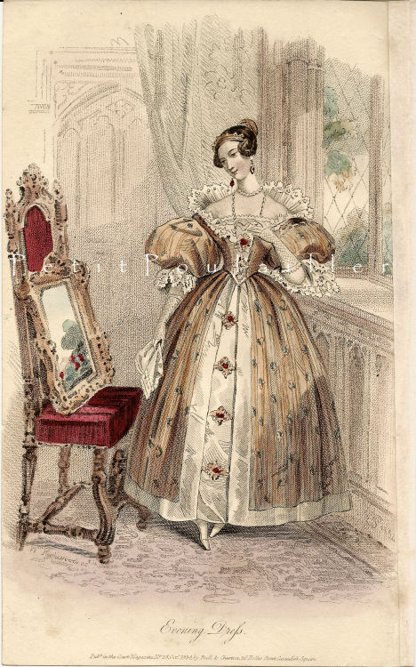 oldrags:  October evening dress, 1834 England, Court Magazine  This is so darling, oh my goodness.